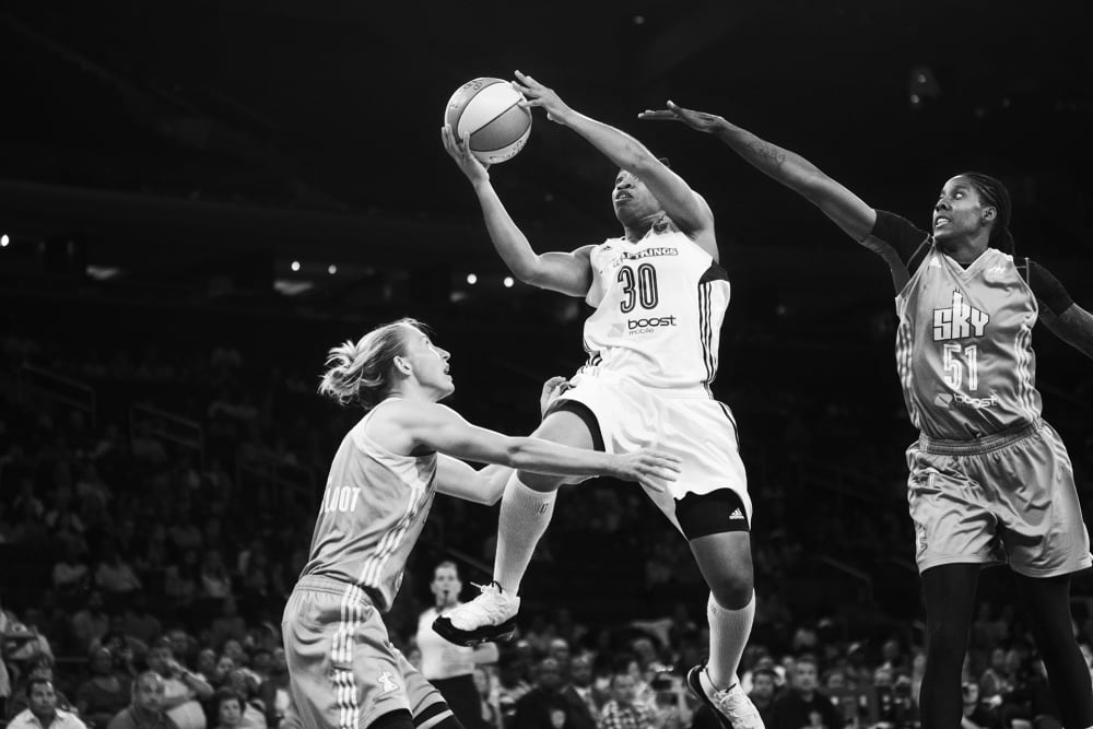 Tanisha Wright goes in for the kill while the NY Liberty go against the Chicago Sky at Madison Square Garden on September 3, 2015. The Liberty lost 62 to 80. (Photo by Annie Flanagan for The Players Tribune)