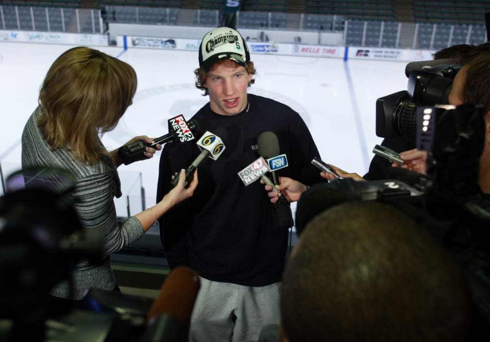 Michigan State's Justin Abdelkader is interviewed, Monday, April 9, 2007, in East Lansing, Mich. Michigan State won the school's first NCAA hockey championship in 21 years after defeating Boston College, 3-1 on Saturday. Abdelkader scored the winning goal. (AP Photo/Al Goldis)