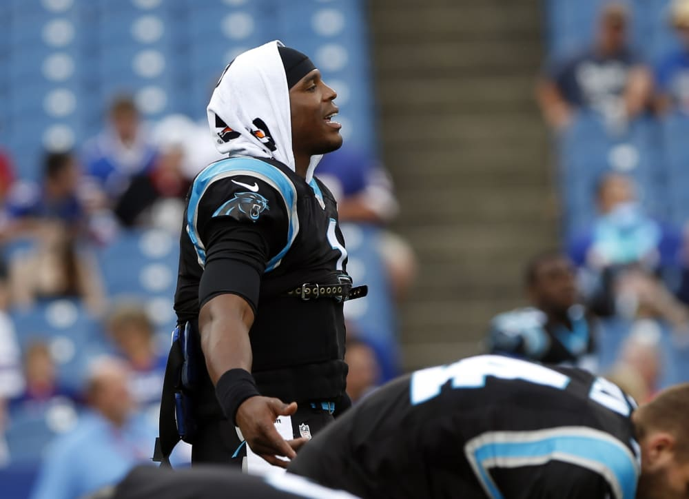 Carolina Panthers quarterback Cam Newton (1) warms up before an NFL preseason football game against the Buffalo Bills on Friday, Aug. 14, 2015, in Orchard Park, N.Y. (AP Photo/Heather Ainsworth)