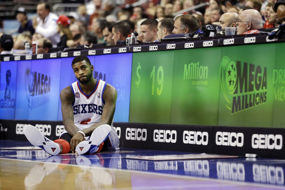 Philadelphia 76ers' Dorell Wright waits to get substituted into the second half of an NBA basketball game against the Milwaukee Bucks, Monday, Nov. 12, 2012, in Philadelphia. Milwaukee won 105-96. (AP Photo/Matt Slocum)