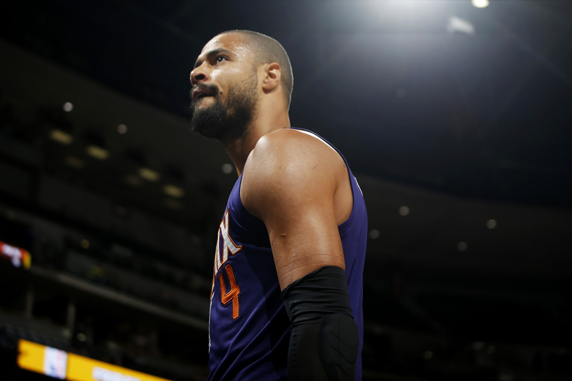 Phoenix Suns center Tyson Chandler walks off the court after being ejected for arguing with referees while facing the Denver Nuggets in the second half of an NBA basketball game Friday, Oct. 16, 2015, in Denver. The Nuggets won 106-81. (AP Photo/David Zalubowski)
