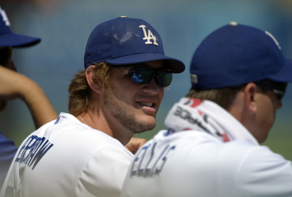 Los Angeles Dodgers Pitcher Clayton Kershaw Left Looks Over At Catcher AJ Ellis During