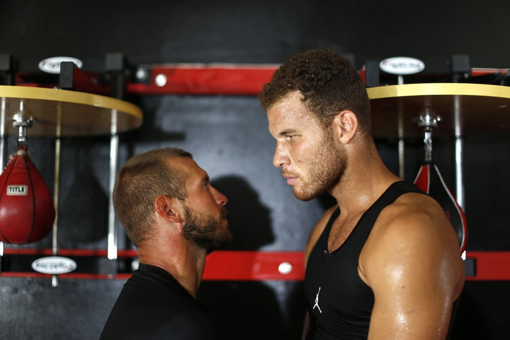 "Blake Griffin trains with Donald ""Cowboy"" Cerrone on September 22, 2015 in Redondo Beach, Ca.  (Photo by Jed Jacobsohn/The Players Tribune)"