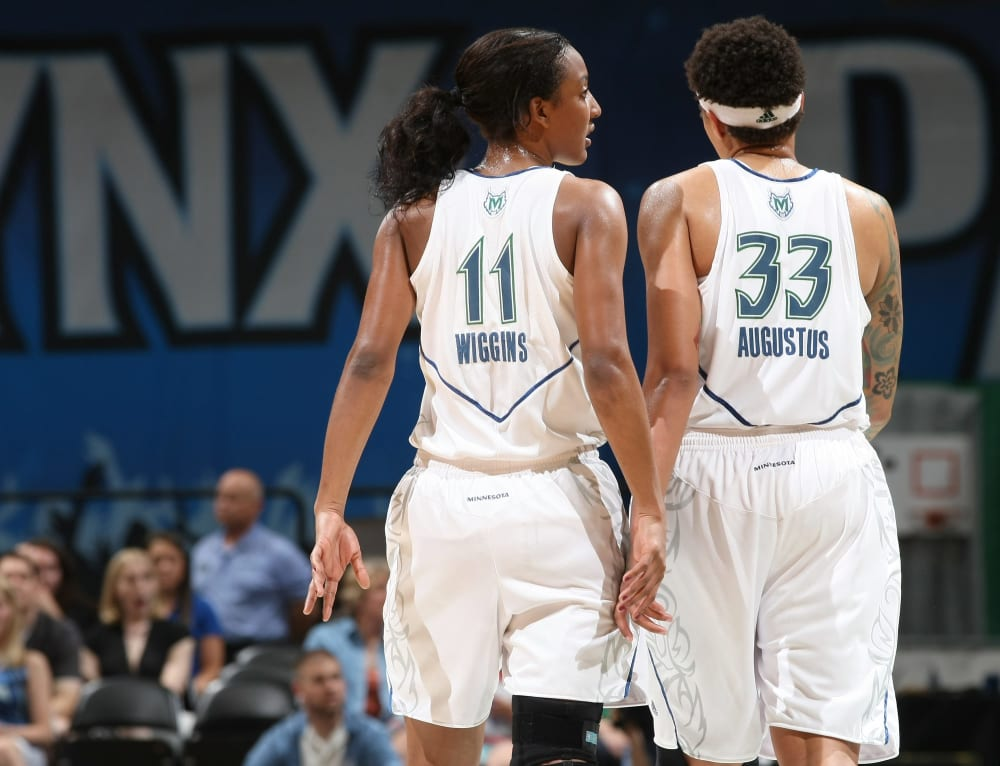 MINNEAPOLIS - JUNE 18: Candice Wiggins #11 and Seimone Augustus #33 of the Minnesota Lynx during a game against the Tulsa Shock on June 18, 2010 at the Target Center in Minneapolis, Minnesota. NOTE TO USER: User expressly acknowledges and agrees that, by downloading and or using this Photograph, user is consenting to the terms and conditions of the Getty Images License Agreement. Mandatory Copyright Notice: Copyright 2010 NBAE (Photo by David Sherman/NBAE via Getty Images)