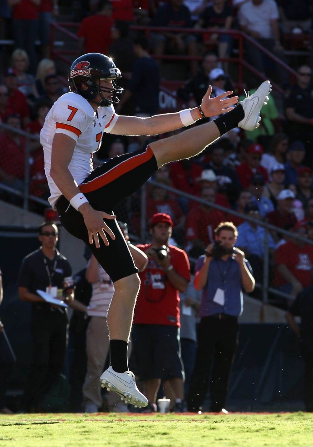 TUCSON, AZ - OCTOBER 09: Punter Johnny Hekker #7 of the Oregon State Beavers kicks the football during the college football game against the Arizona Wildcats at Arizona Stadium on October 9, 2010 in Tucson, Arizona. The Beavers defeated the Wildcats 29-27. (Photo by Christian Petersen/Getty Images)