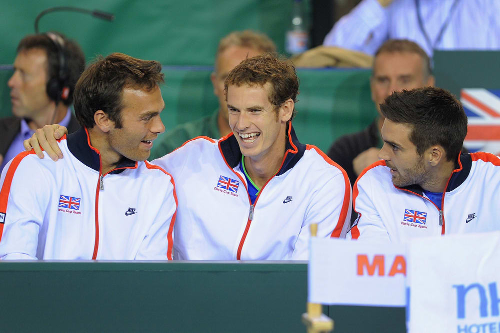 GLASGOW, SCOTLAND - SEPTEMBER 16: Ross Hutchins, Andy Murray and Colin Fleming look on during day one of the Davis Cup tie between Great Britain and Hungary at the Braehead Arena on September 16, 2011 in Glasgow, Scotland. (Photo by Michael Regan/Getty Images)