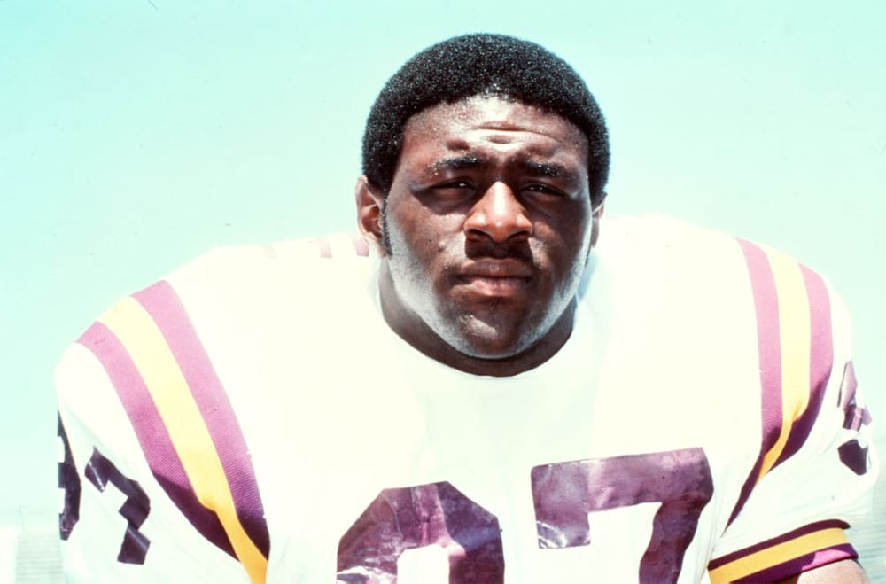 BATON ROUGE, LA - 1982: Leonard Marshall #97 of the Louisiana State University Tigers poses for a portrait circa 1982 at Tiger Stadium in Baton Rouge, Louisiana. (Photo by Louisiana State/Collegiate Images/Getty Images)