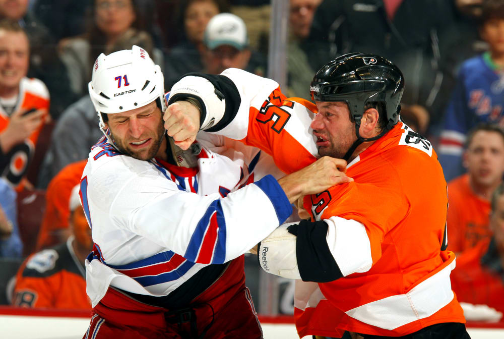 Hockey: New York Rangers Mike Rupp (71) in action, fight vs Philadelphia Flyers Jody Shelley (45) at Wells Fargo Center. Philadelphia, PA 4/3/2012 CREDIT: Adam Hunger (Photo by Adam Hunger /Sports Illustrated/Getty Images) (Set Number: X154596 TK1 R1 F23 )