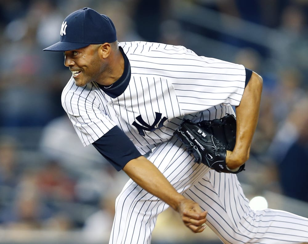NEW YORK, NY - AUGUST 21: Closer Mariano Rivera #42 of the New York Yankees delivers a pitch in a MLB baseball game against the Toronto Blue Jays at Yankee Stadium on August 121, 2013 in the Bronx borough of New York City. (Photo by Rich Schultz/Getty Images)