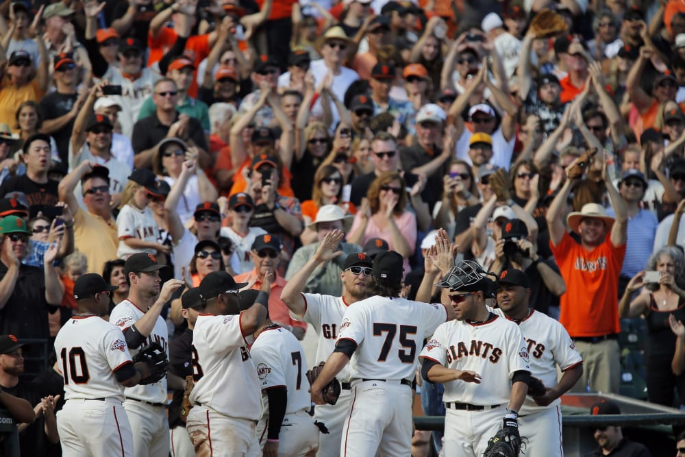 SAN FRANCISCO, CA - SEPTEMBER 29:  Relief pitcher Barry Zito #75 of the San Francisco Giants gets a standing ovation after coming out of a game against the San Diego Padres in the eighth inning at AT&T Park on September 29, 2013 in San Francisco, California.  Zito has said this would be his last season with the Giants. The Giants won 7-6 with a walk-off RBI single in the ninth inning. (Photo by Brian Bahr/Getty Images)