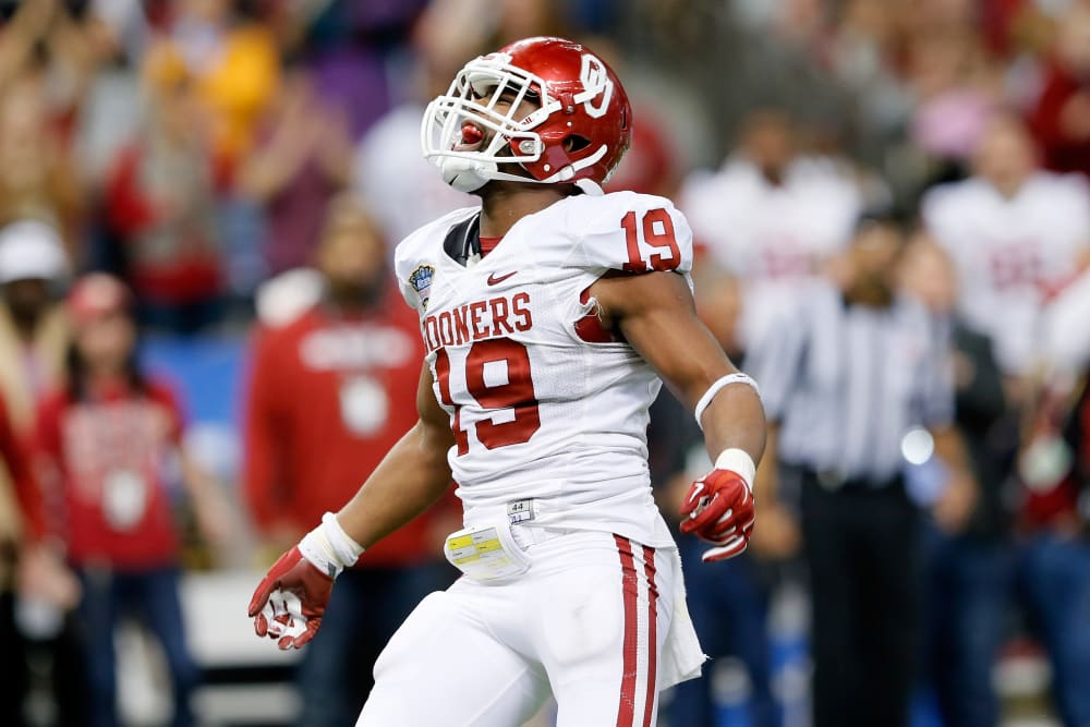NEW ORLEANS, LA - JANUARY 02: Eric Striker #19 of the Oklahoma Sooners reacts after sacking AJ McCarron #10 of the Alabama Crimson Tide during the Allstate Sugar Bowl at the Mercedes-Benz Superdome on January 2, 2014 in New Orleans, Louisiana. (Photo by Kevin C. Cox/Getty Images)