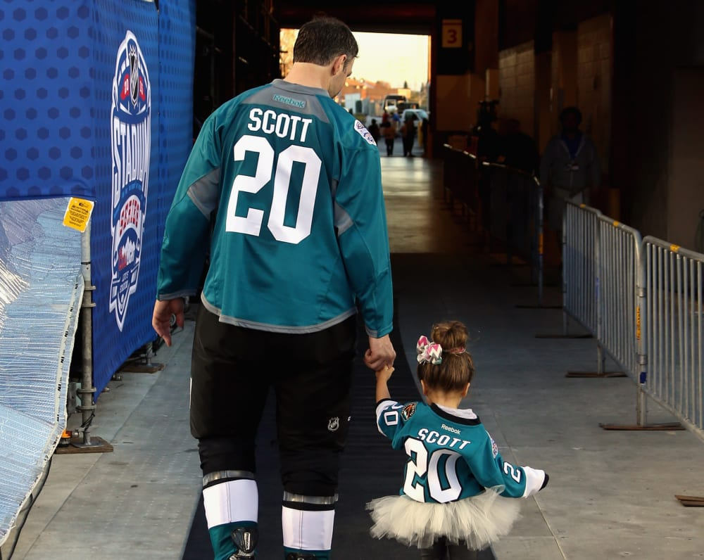 SANTA CLARA, CA - FEBRUARY 20: John Scott #20 of the San Jose Sharks participates in the family skate during the practice day for the 2015 Coors Light Stadium Series game between Los Angeles Kings and the San Jose Sharks at Levi's Stadium on February 20, 2015 in Santa Clara, California. (Photo by Dave Sandford/NHLI via Getty Images)