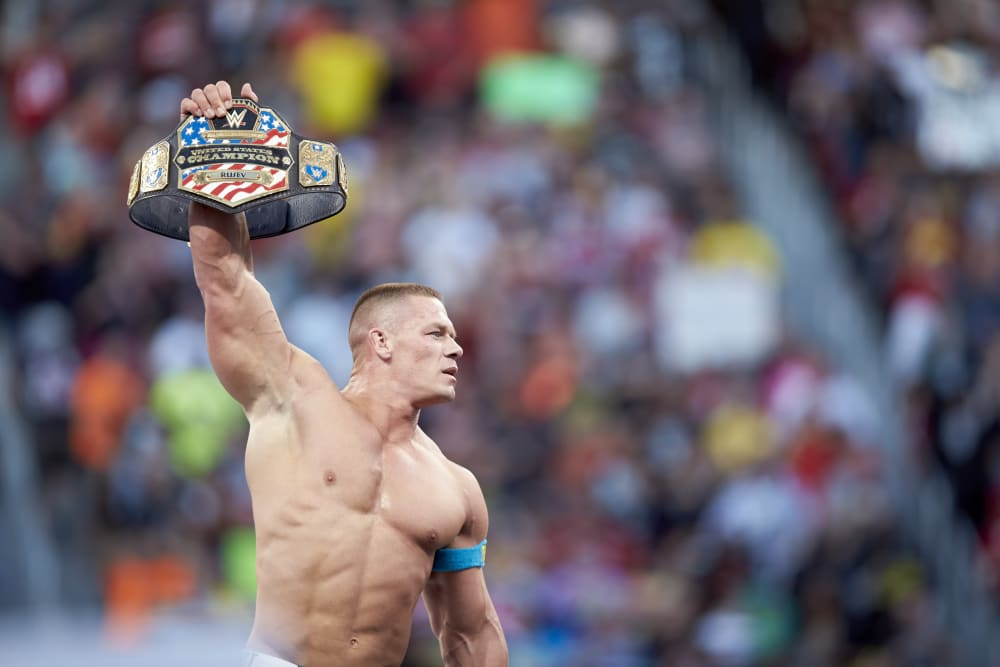 WWE Wrestling: WrestleMania 31: John Cena victorious in ring with belt during event at Levi's Stadium. Santa Clara, CA 3/29/2015 CREDIT: Jed Jacobsohn (Photo by Jed Jacobsohn /Sports Illustrated/Getty Images) (Set Number: X159445 TK1 )