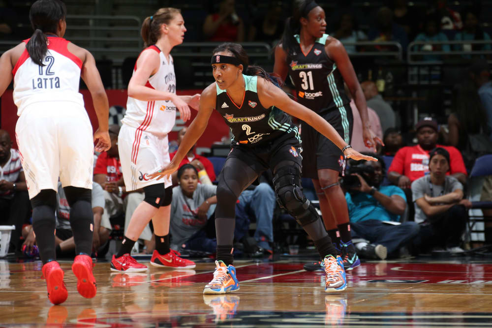 WASHINGTON, DC - JUNE 6: Candice Wiggins #2 of the New York Liberty guards her position against the Washington Mystics on June 6, 2015 at the Verizon Center in Washington, DC. NOTE TO USER: User expressly acknowledges and agrees that, by downloading and/or using this photograph, user is consenting to the terms and conditions of the Getty Images License Agreement.  Mandatory Copyright Notice: Copyright 2015 NBAE (Photo by Ned Dishman/NBAE via Getty Images)