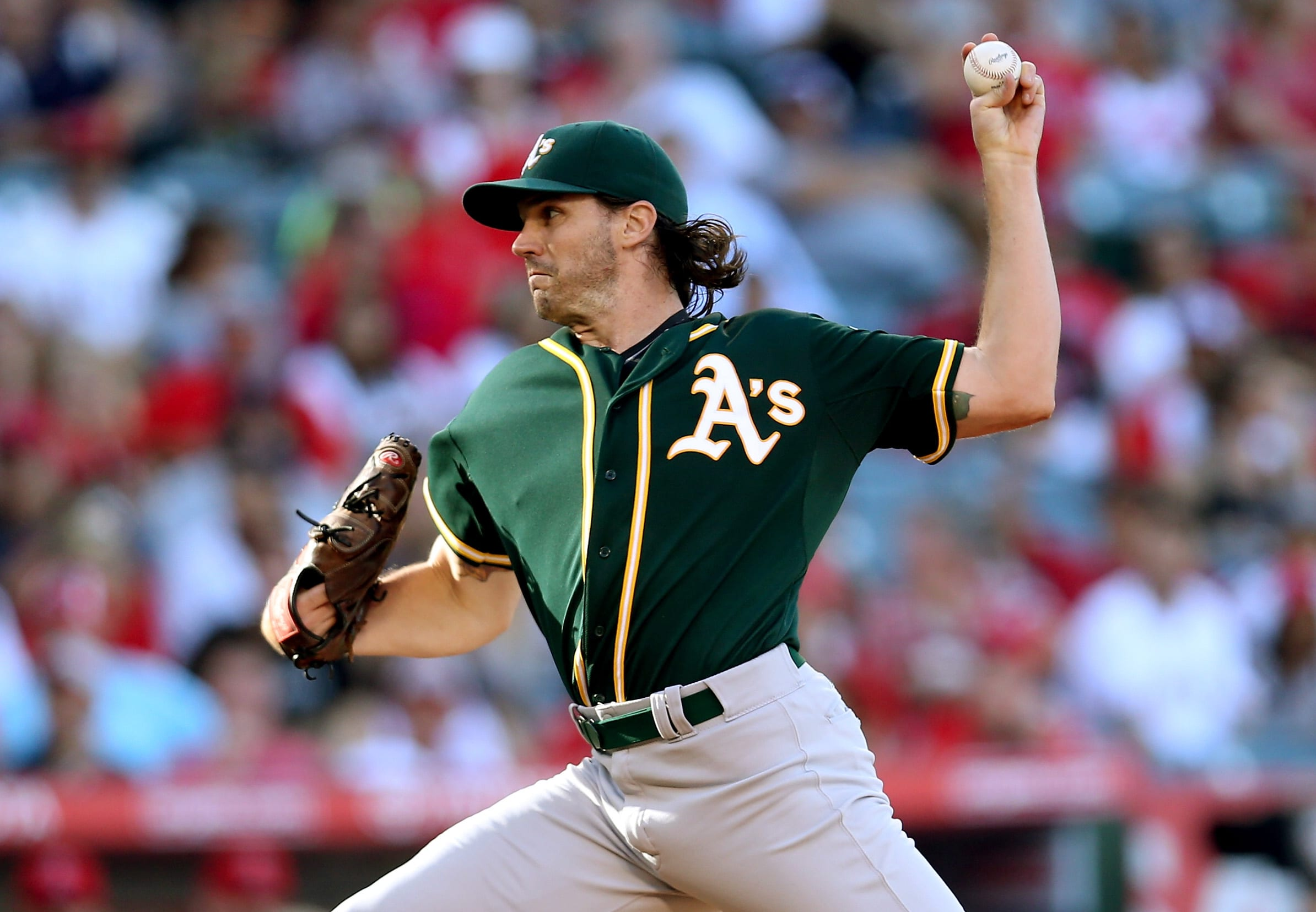 ANAHEIM, CA - SEPTEMBER 30:  Barry Zito #75 of the Oakland Athletics throws a pitch against the Los Angeles Angels of Anaheim at Angel Stadium of Anaheim on September 30, 2015 in Anaheim, California.  (Photo by Stephen Dunn/Getty Images)