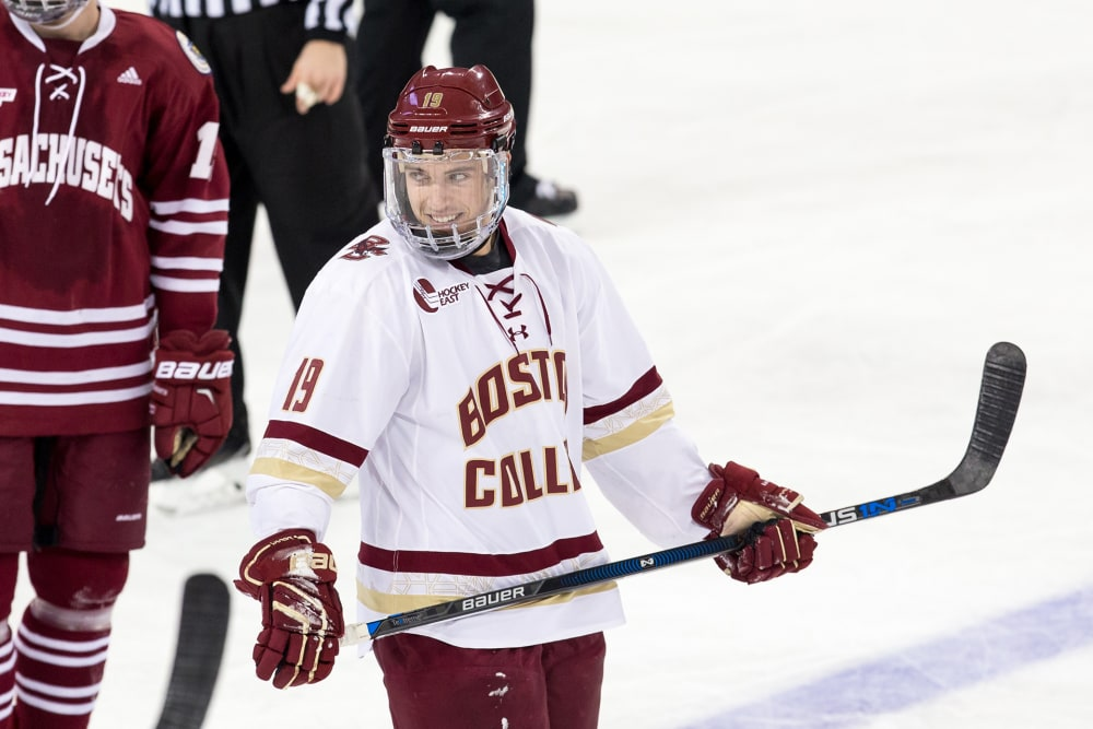 CHESTNUT HILL, MA - NOVEMBER 3: Ryan Fitzgerald #19 of the Boston College Eagles skates against the Massachusetts Minutemen during NCAA hockey at Kelley Rink on November 3, 2015 in Chestnut Hill, Massachusetts. The Eagles won 7-0. (Photo by Richard T Gagnon/Getty Images)