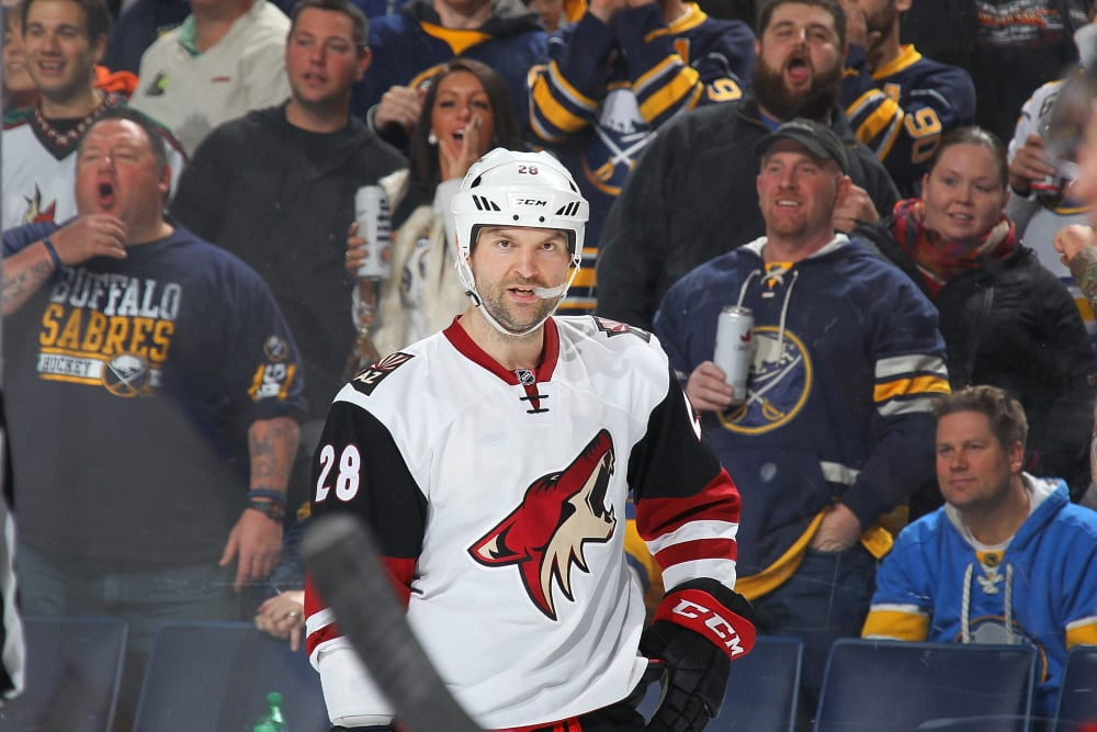 BUFFALO, NY - DECEMBER 04: John Scott #28 of the Arizona Coyotes looks on as Buffalo Sabres fans react to a skirmish during an NHL game on December 4, 2015 at the First Niagara Center in Buffalo, New York. The Sabres won, 5-2. (Photo by Bill Wippert/NHLI via Getty Images)