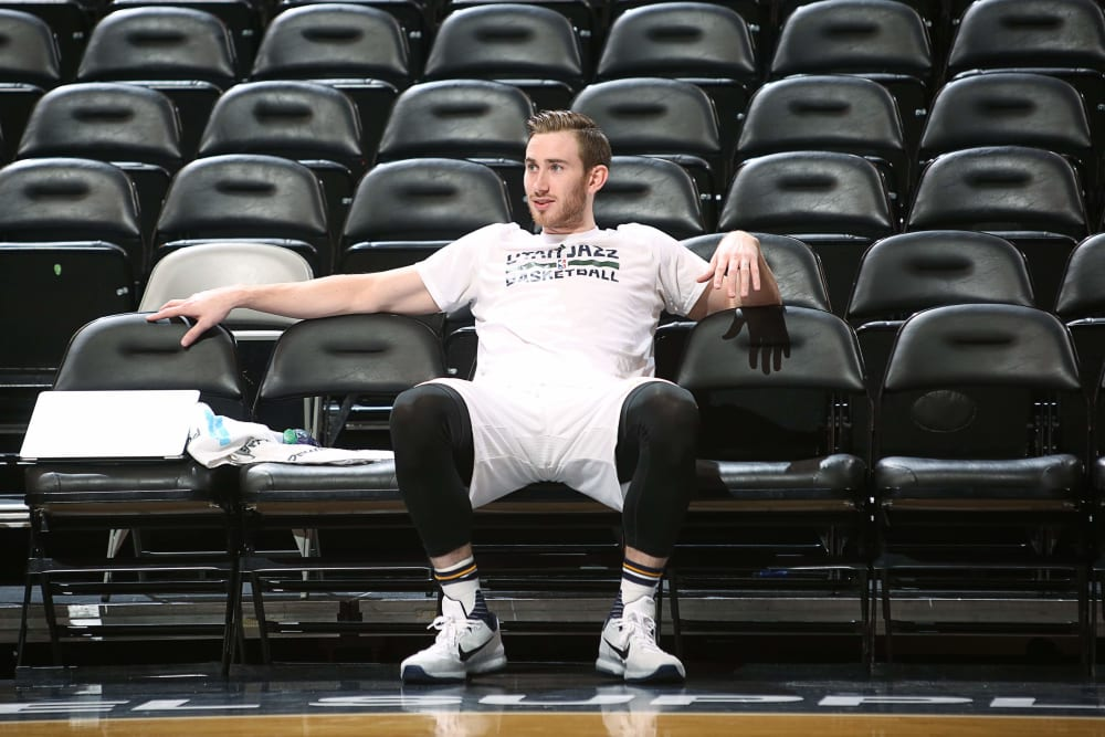 SALT LAKE CITY, UT - JANUARY 9: Gordon Hayward #20 of the Utah Jazz warms up before the game against the Miami Heat on January 9, 2016 at vivint.SmartHome Arena in Salt Lake City, Utah. NOTE TO USER: User expressly acknowledges and agrees that, by downloading and or using this Photograph, User is consenting to the terms and conditions of the Getty Images License Agreement. Mandatory Copyright Notice: Copyright 2016 NBAE (Photo by Melissa Majchrzak/NBAE via Getty Images)