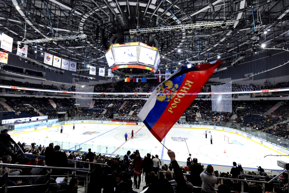 Ice-hockey fans attend the Russian open Continental Hockey League (KHL) all-star ice-hockey match in Minsk on January 30, 2010 inside the newly built Minsk arena. AFP PHOTO / VIKTOR DRACHEV (Photo credit should read VIKTOR DRACHEV/AFP/Getty Images)