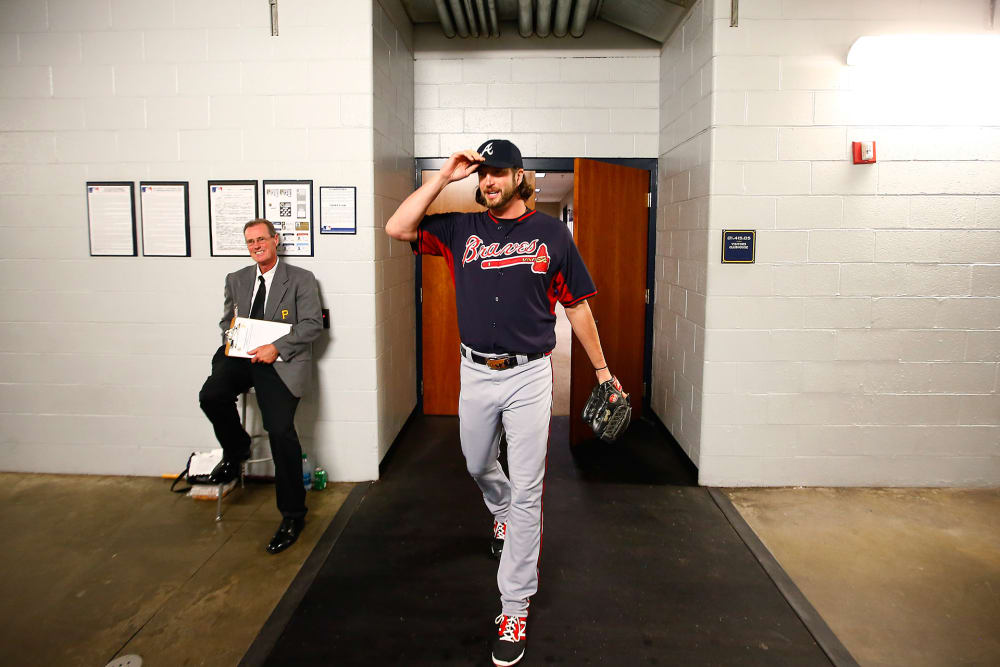Jason Grilli exits the Braves' clubhouse at PNC Park in Pittsburgh.
