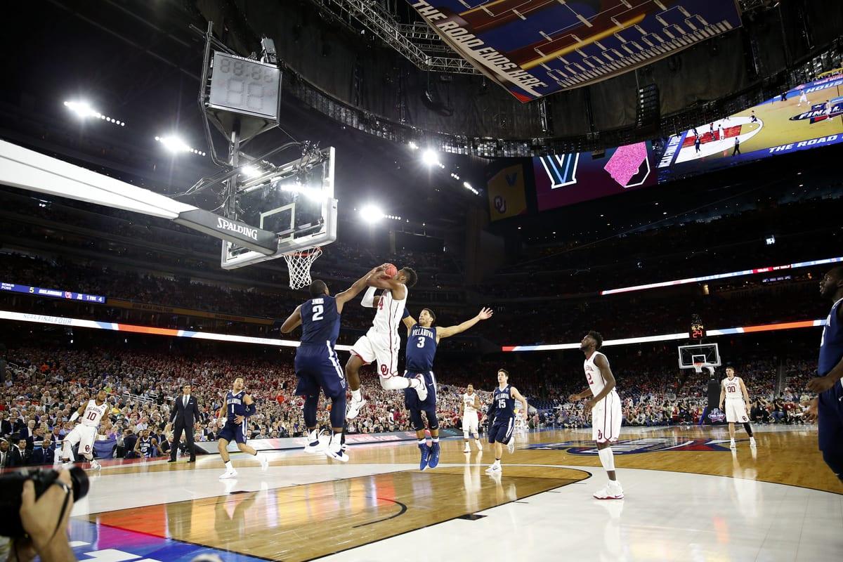 Buddy Hield, 24, of Oklahoma drives the lane as Villanova takes on Oklahoma on April 2, 2016 at the at NRG Stadium in Houston, Tx. (Photo by Jed Jacobsohn for the Players' Tribune)