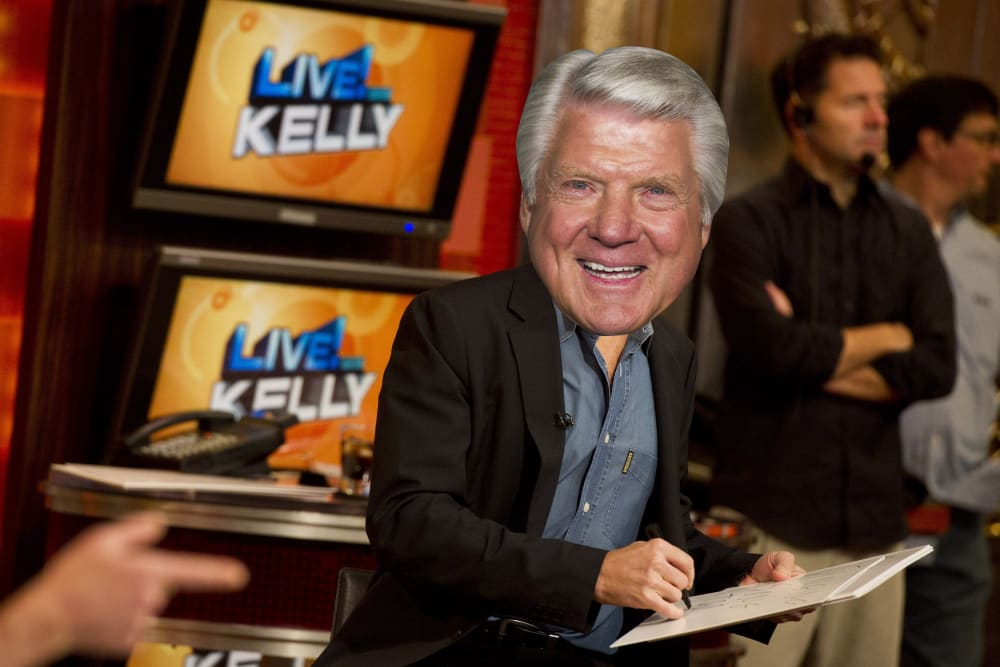 """In this Jan. 24, 2012 photo, Executive producer Michael Gelman appears on the set of """"Live! with Kelly"""", in New York. Gelman began as a freelance production assistant and became executive producer in 1987. After the departure of Regis Philbin, Gelman is ready to savor continued success for """"Live!"""" He says he's signed another long-term deal. (AP Photo/Charles Sykes)"""