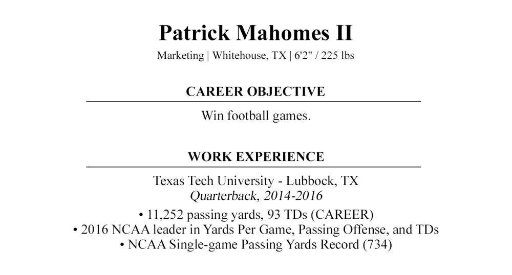 NFL Draft Cover Letter | By Patrick Mahomes II