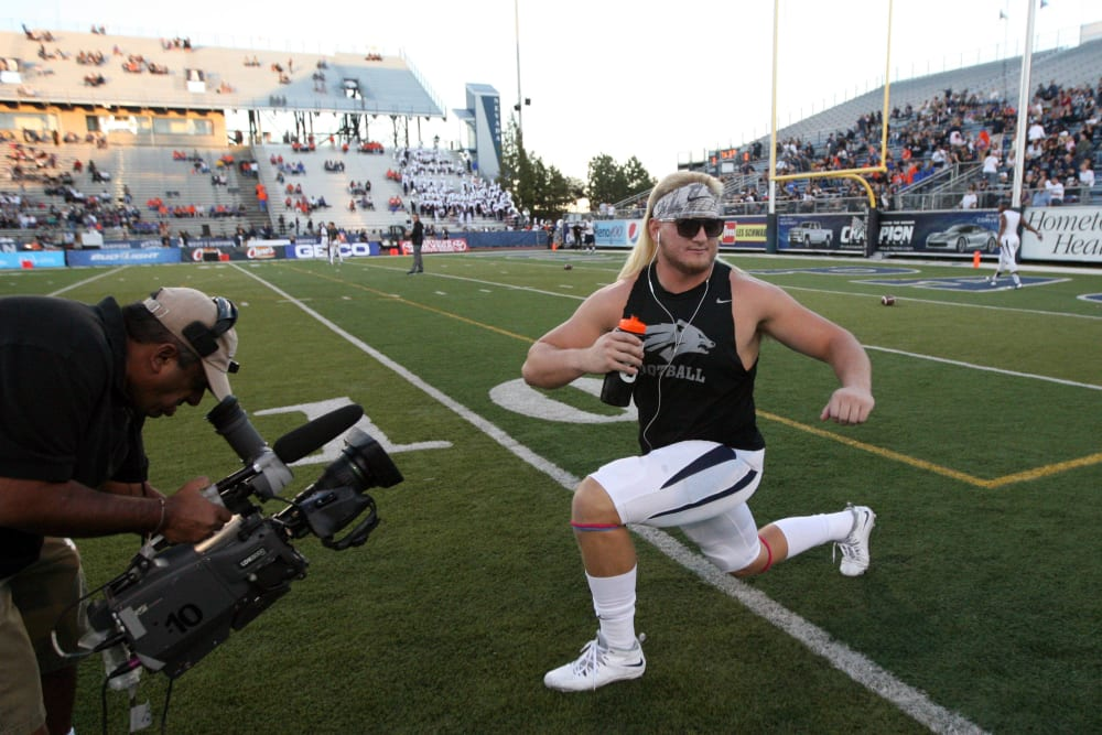 Oct 4, 2014; Reno, NV, USA; Nevada Wolf Pack defensive end Brock Hekking (53) warms up prior to their NCAA football game with the Boise State Broncos at MacKay Stadium. Mandatory Credit: Lance Iversen-USA TODAY Sports