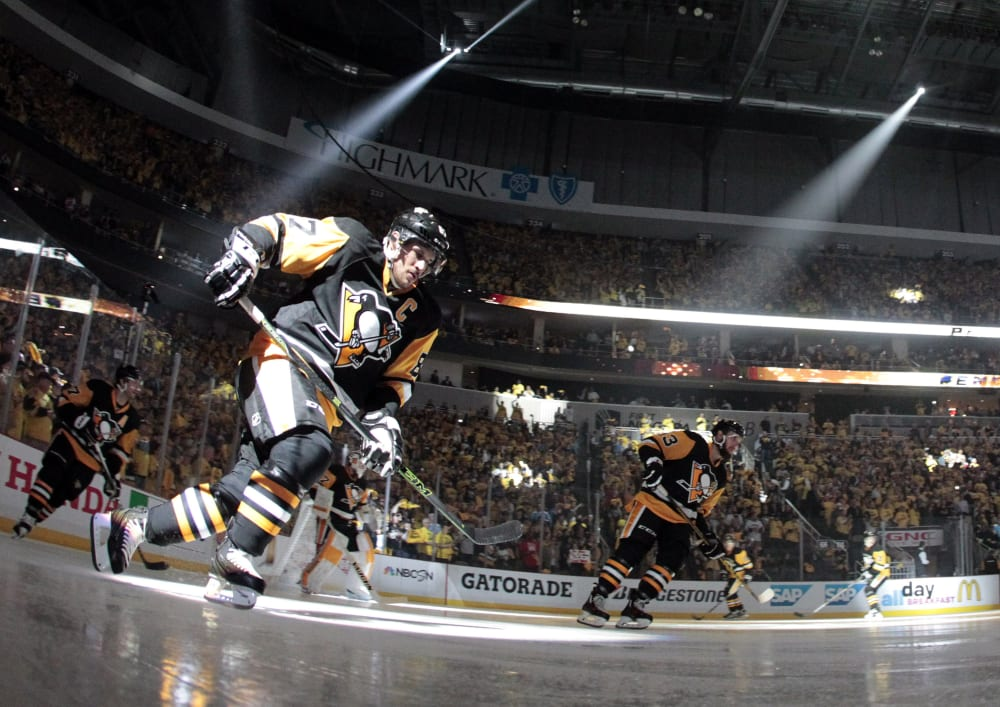 Apr 13, 2016; Pittsburgh, PA, USA; Pittsburgh Penguins center Sidney Crosby (87) takes the ice against the New York Rangers in game one of the first round of the 2016 Stanley Cup Playoffs at the CONSOL Energy Center. Mandatory Credit: Charles LeClaire-USA TODAY Sports